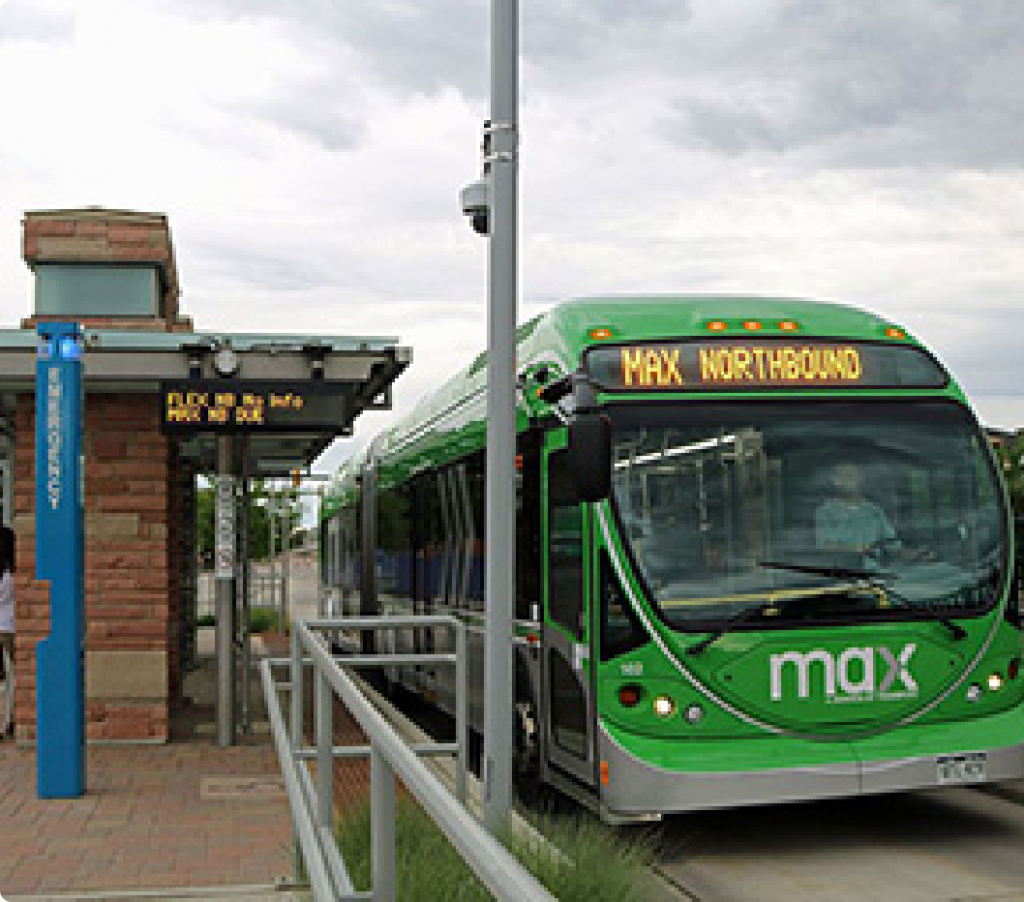 MAX bus rapid transit in Fort Collins, Colorado connects destinations throughout Fort Collins along the Mason Corridor.
