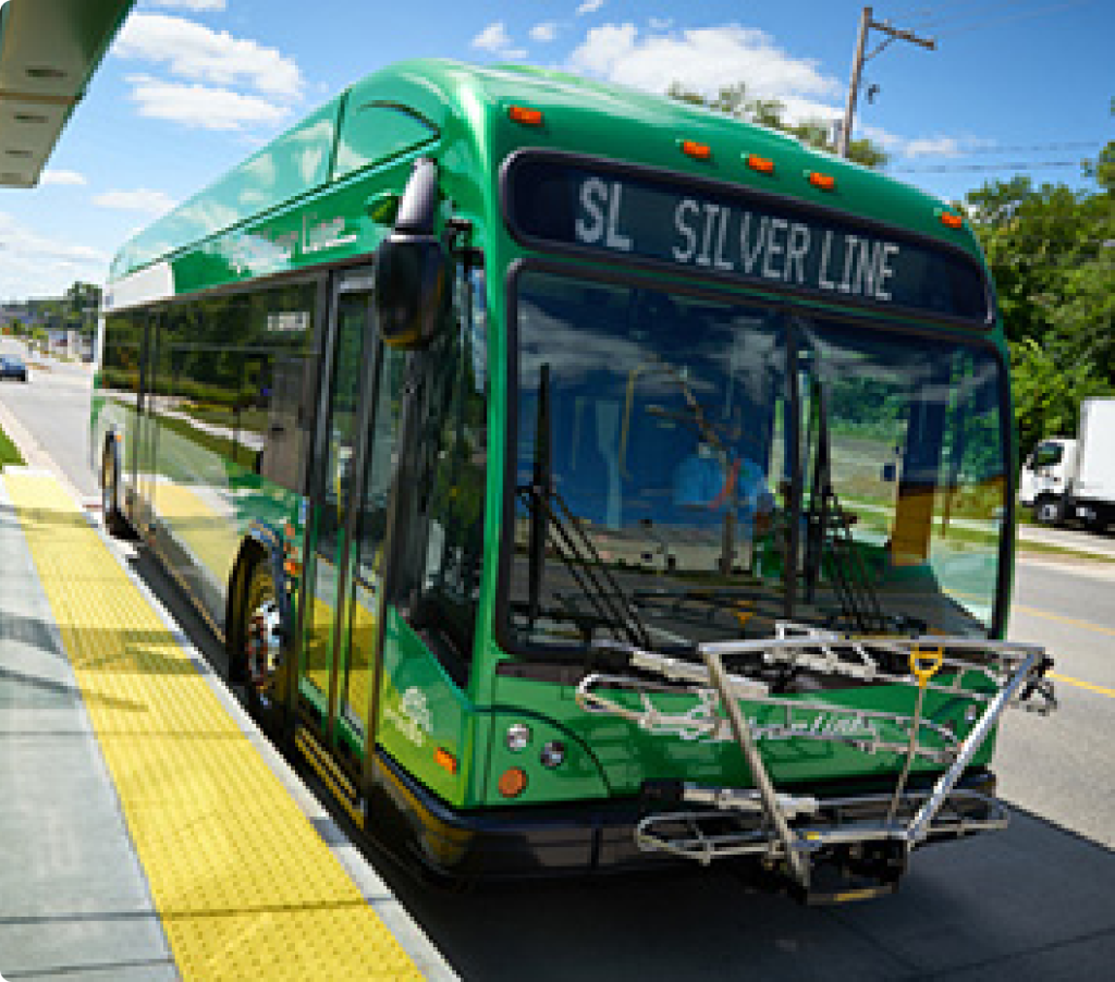 The Silverline Bus rapid transit system in Grand Rapids, Michigan is 9.6 miles long and began service in 2014.