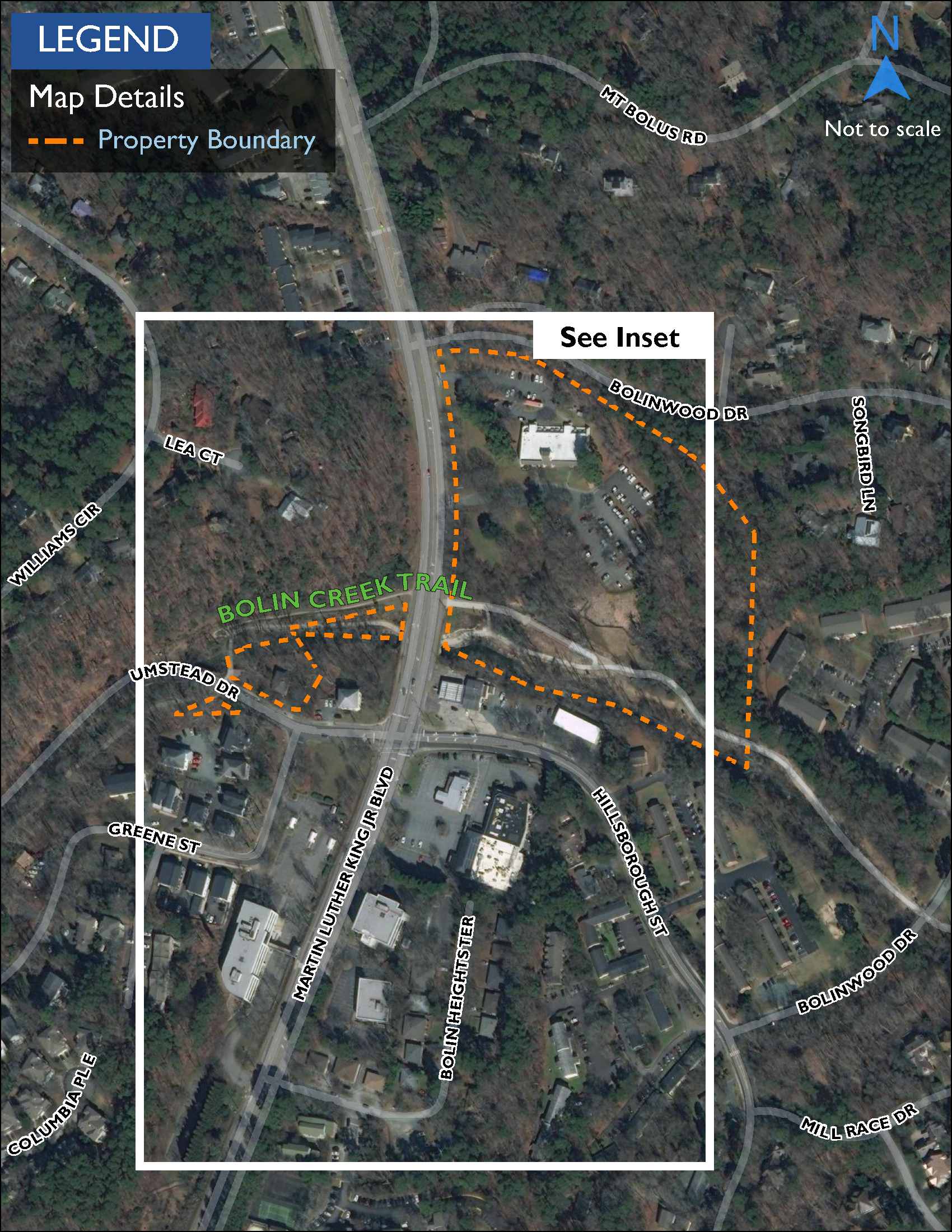 Map showing Bolin Creek Trail, a 1.5-mile shared-use path lined by parkland that connects Community Center Park and Battle Branch Trail.