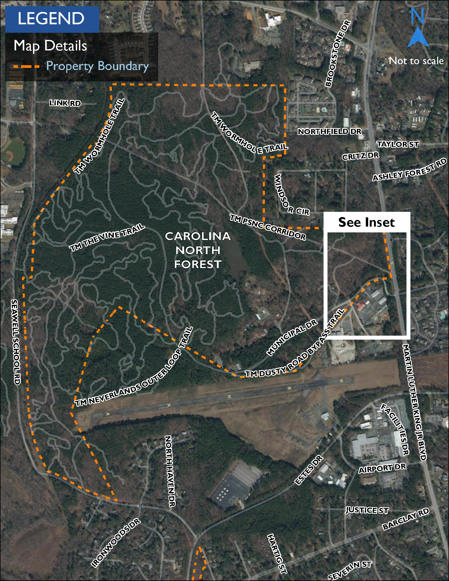 Map showing Carolina North Forest, a 750-acre ecological preserve and woodland park owned by the University of North Carolina.