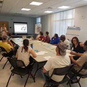 Project stakeholders viewing a presentation of the project at the Next Chapel Hill and Carrboro meeting.