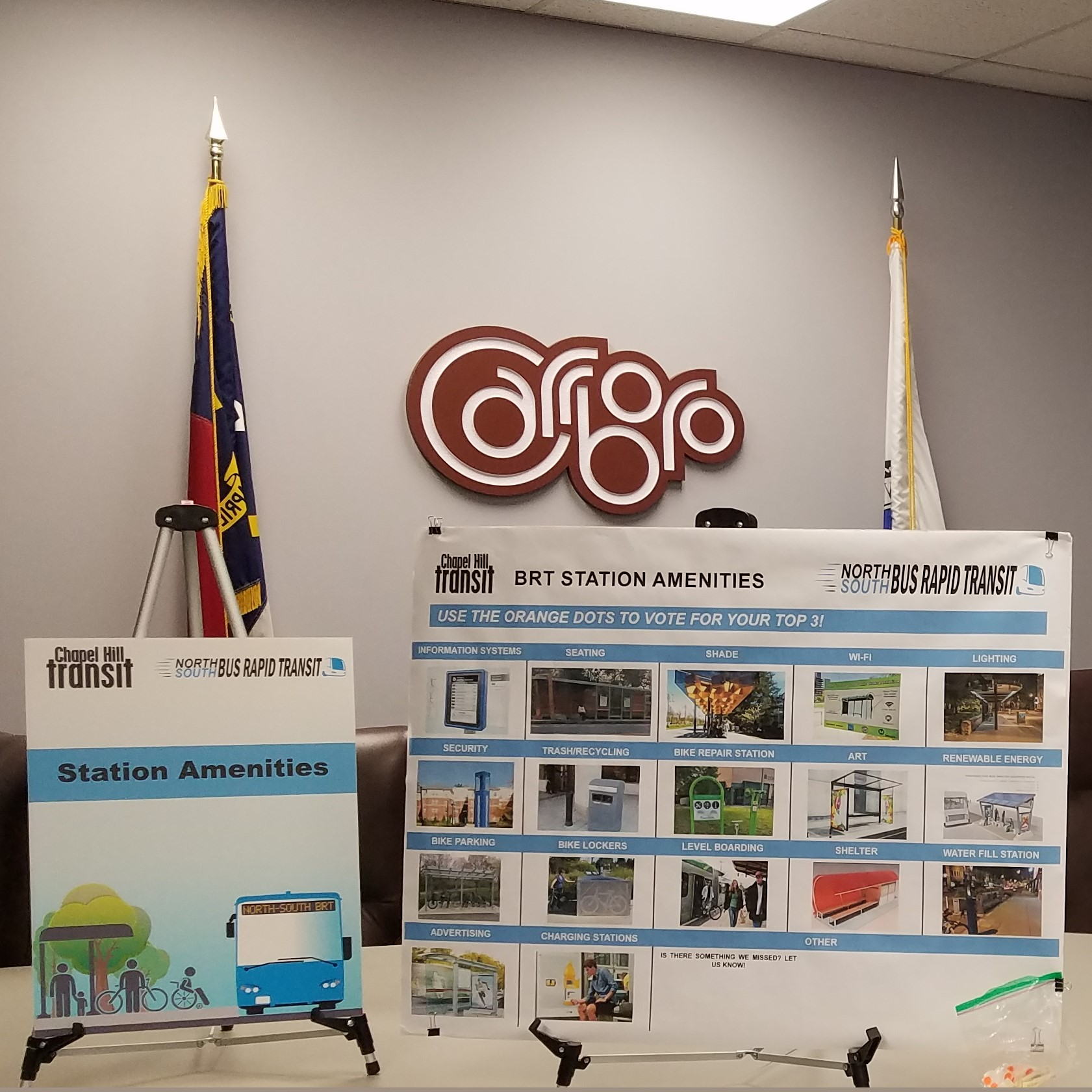 Project materials displayed at the the Town of Carrboro.