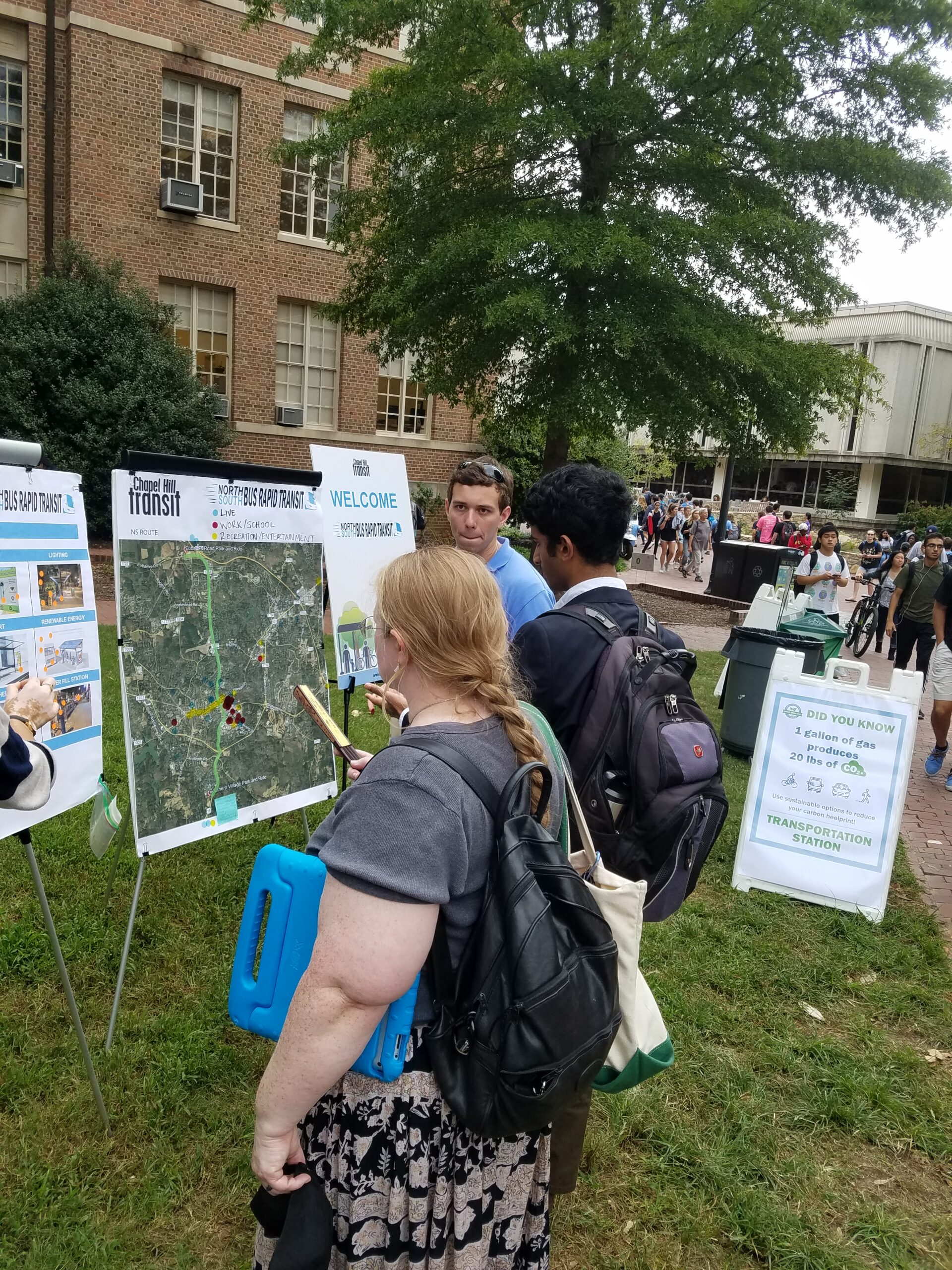 UNC students viewing project posters at the UNC Transportation Fair.
