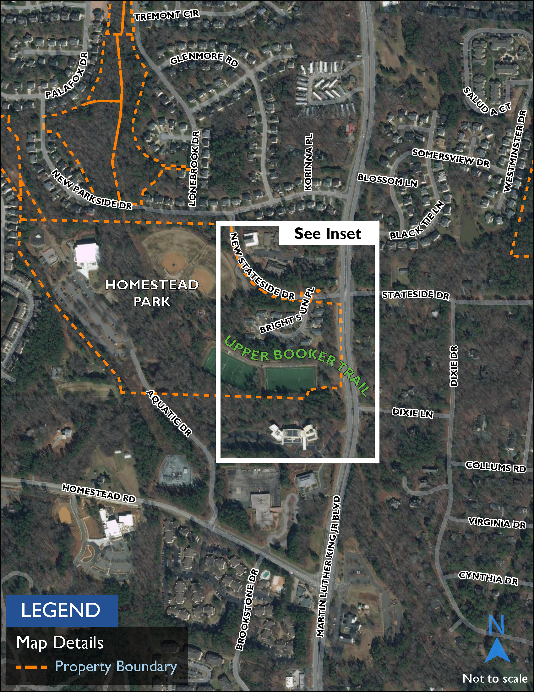 Map showing Homestead Park which is a green space with athletic, play, and picnic facilities. Upper Booker Trail extends from Homestead Park's internal trail system north along Booker Creek to Weaver Dairy Road.