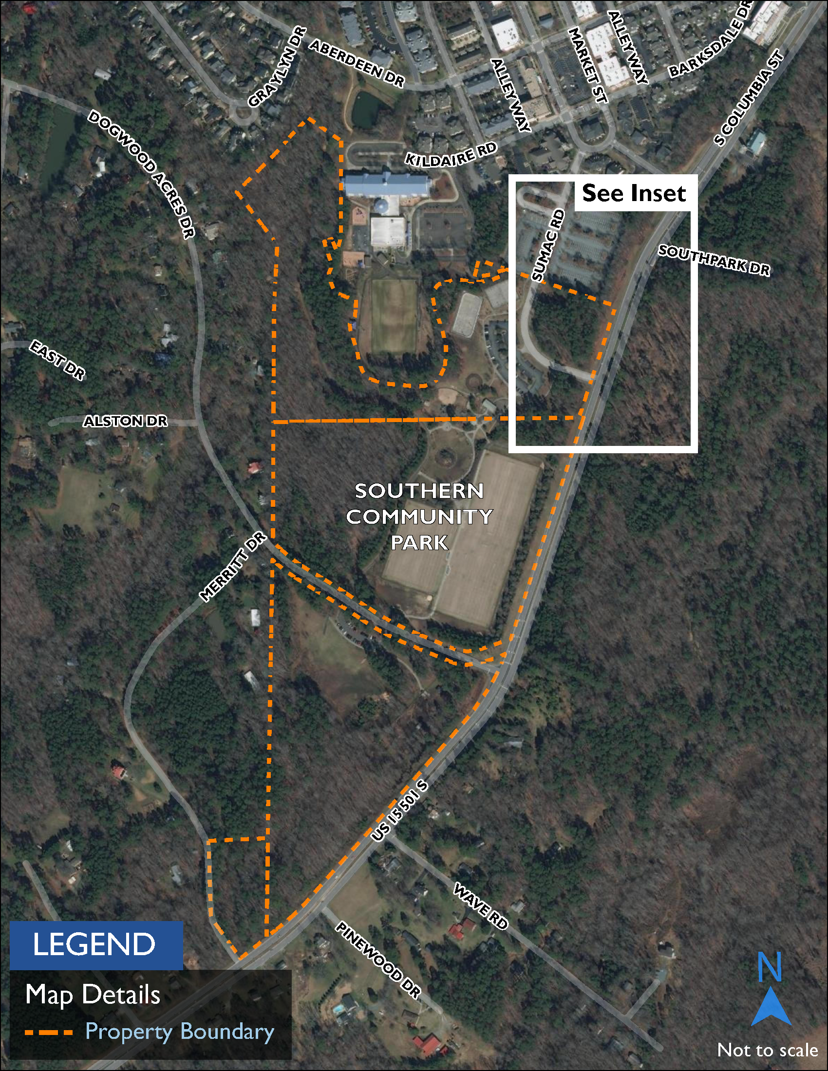 Map showing Southern Community Park, a 72-acre park located near the Southern Village Park-and-Ride.