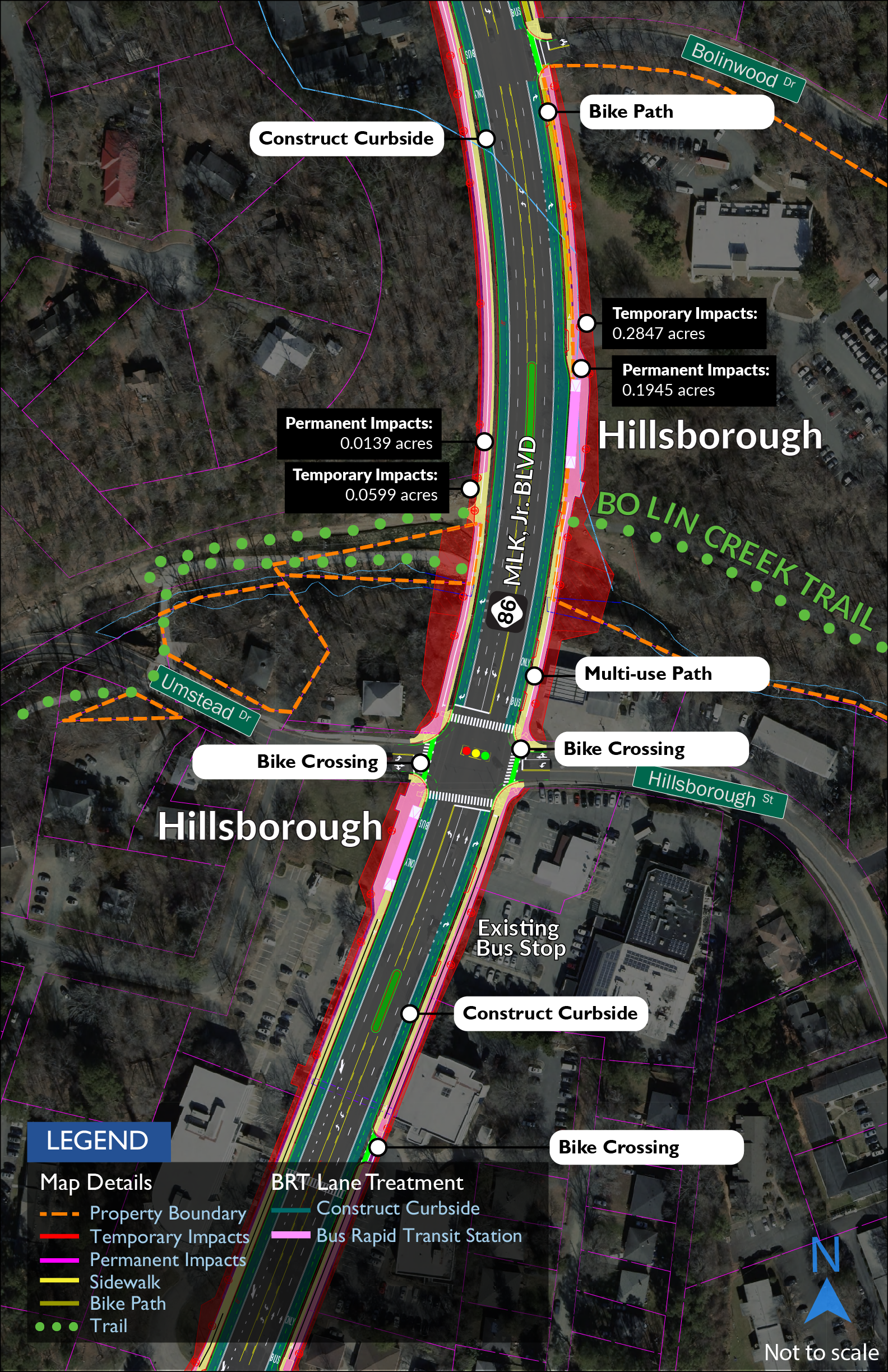 Map showing that Martin Luther King Jr. Boulevard spans the park, trail, and creek and would be widened to add a bus rapid transit guideway and new bicycle and pedestrian facilities.