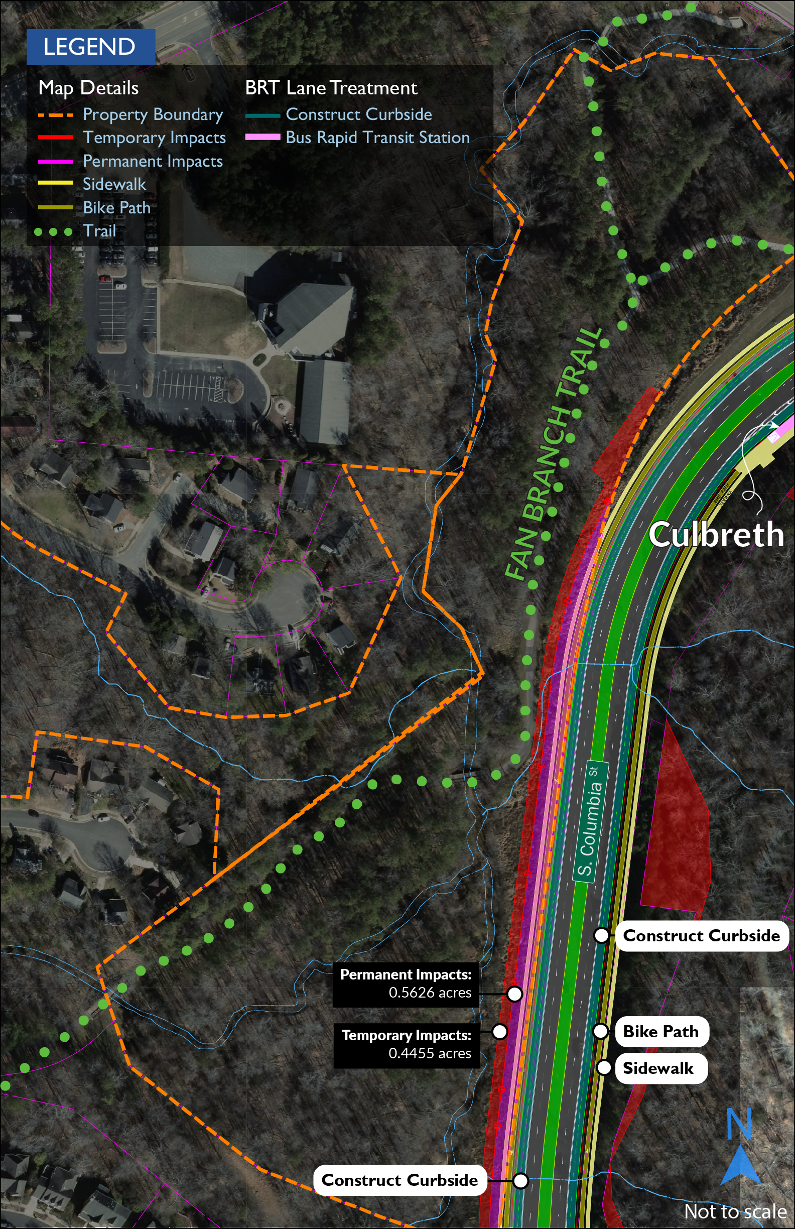 Map showing impacts to Fan Branch Trail. A partial acquisition of 0.56 acres of parkland would be required to accommodate construction of a new retaining wall along South Columbia Street near the trail. An additional 0.45 acre will be temporarily occupied during construction.