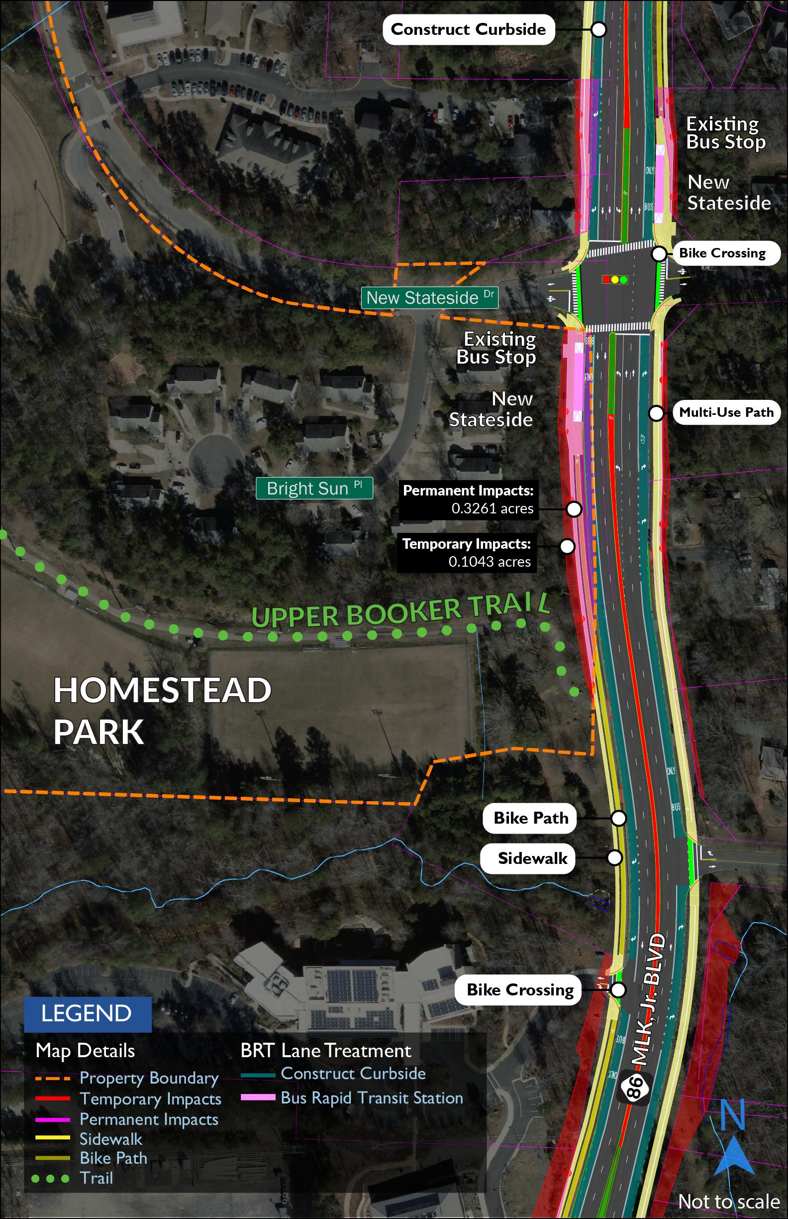 Map showing impacts to Homestead Booker Trail. Access to the park and trail would be improved by the addition of a sidewalk and separated bike path on the west side of MLK and a shared-use path on the east side.