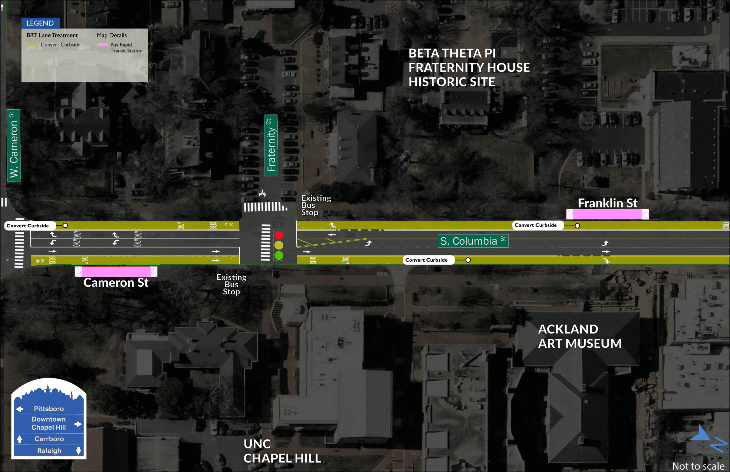 Cameron and Franklin BRT map showing two stations on both sides of S. Columbia Street with Fraternity Court in dividing them