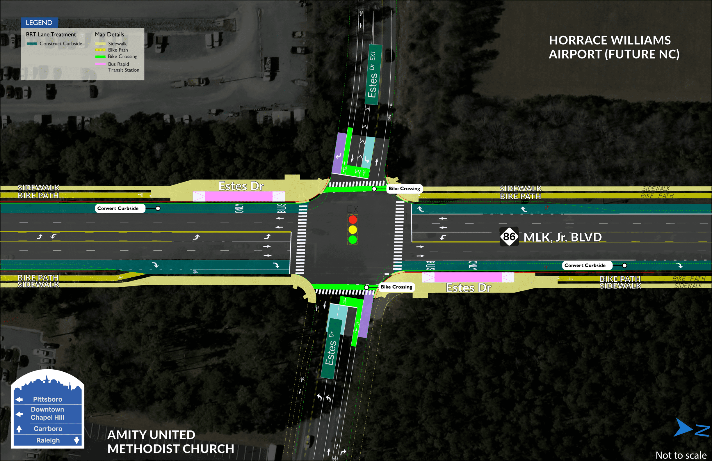 Estes BRT map showing two stations on both sides of MLK Jr. Boulevard, divided by Estes Drive.