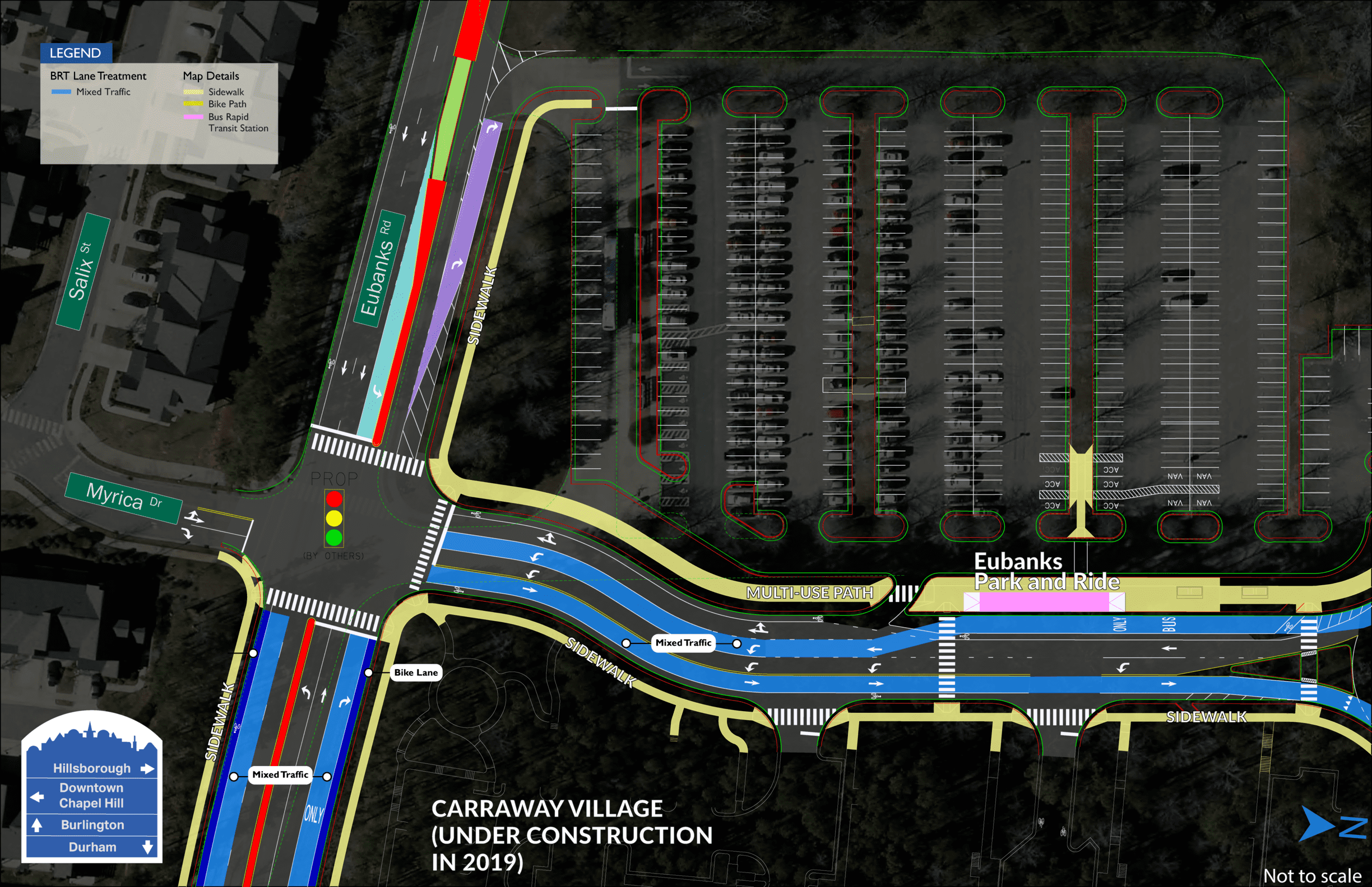 Eubanks Park and Ride BRT map showing one station on Myrica Street in front of the park and ride lot.