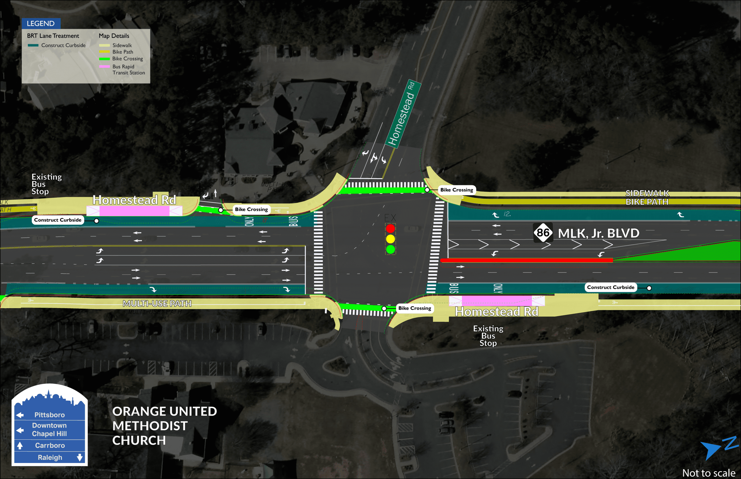 Homestead BRT map showing two stations on both sides of MLK Jr. Boulevard, divided by Homestead Road.