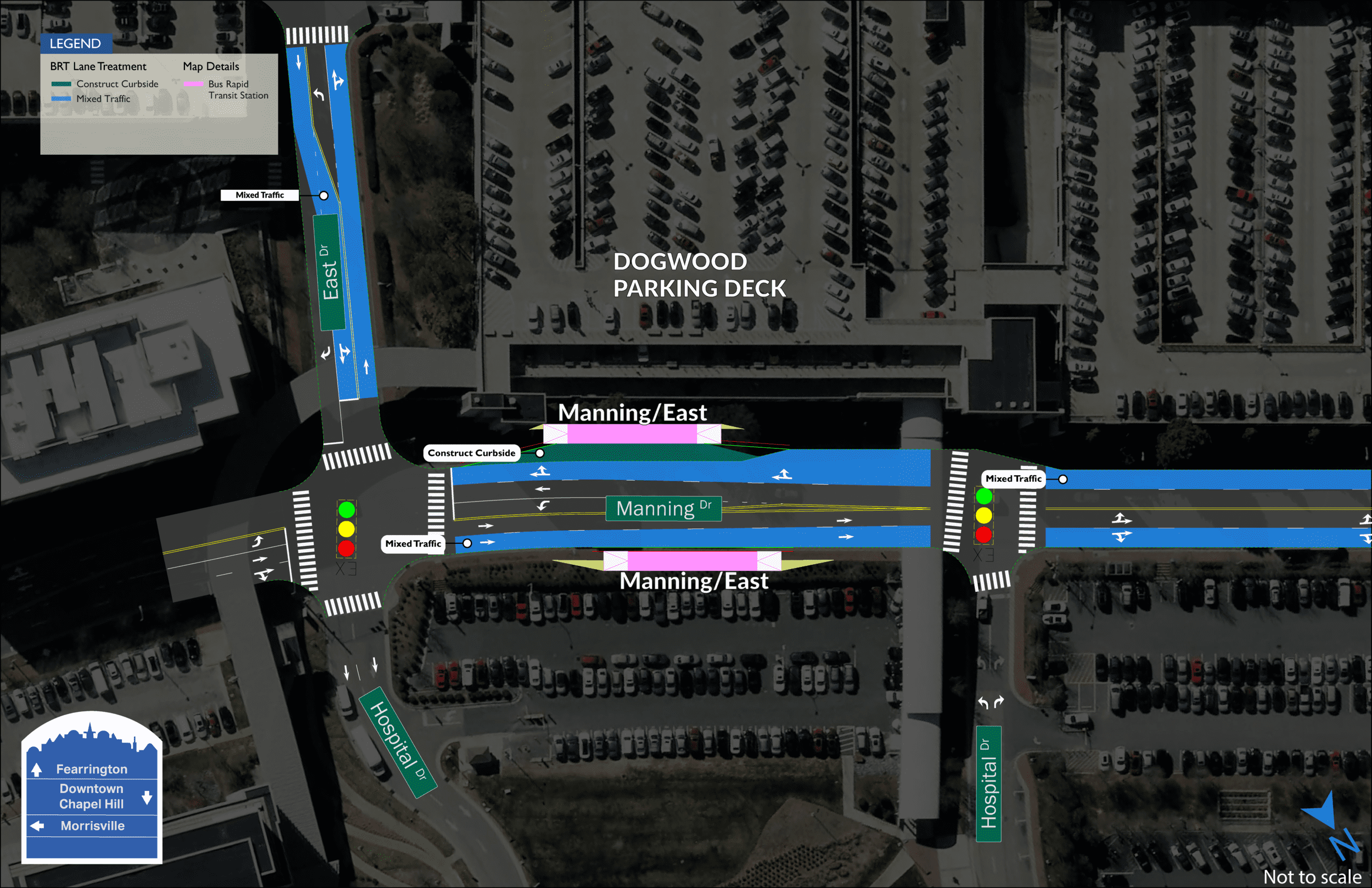 Manning East BRT map showing two stations on both sides of Manning Drive between East Drive and Hospital Drive.