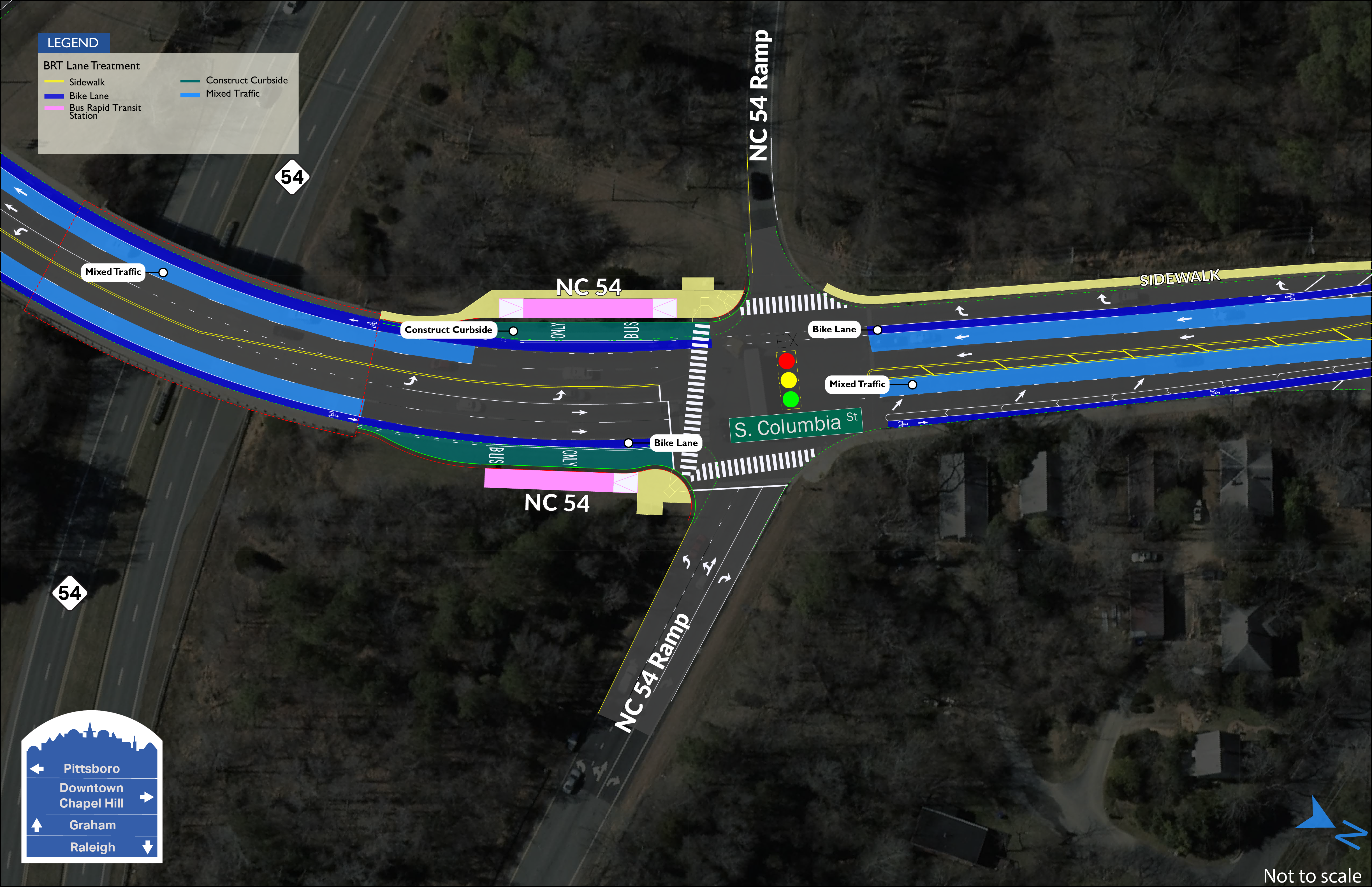 NC 54 BRT map showing two stations on both sides of S. Columbia Street between NC 54 and the on/off ramps.