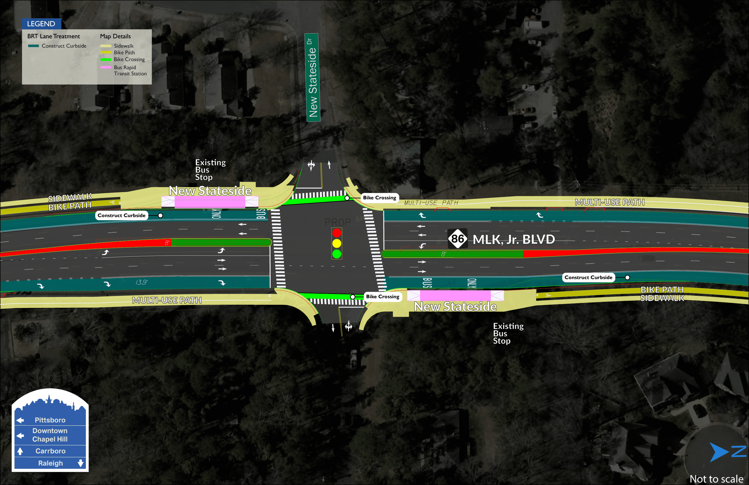New Stateside BRT map showing two stations on both sides of MLK Jr. Boulevard, divided by New Stateside Drive.