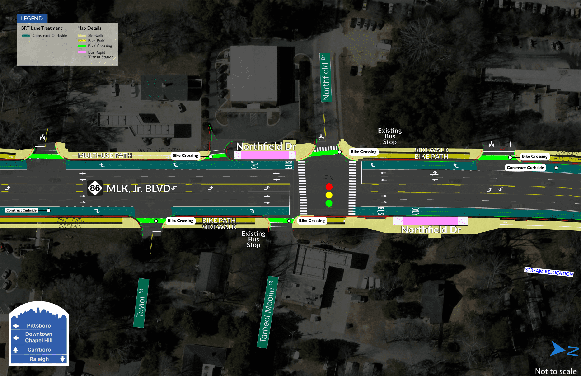 Northfield BRT map showing two stations on both sides of MLK Jr. Boulevard, divided by Northfield Drive.