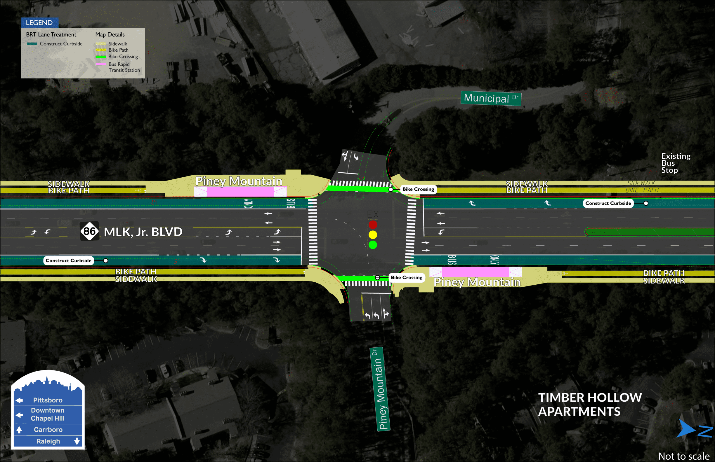 Piney Station BRT map showing two stations on both sides of MLK Jr. Boulevard, divided by Municipal Drive.