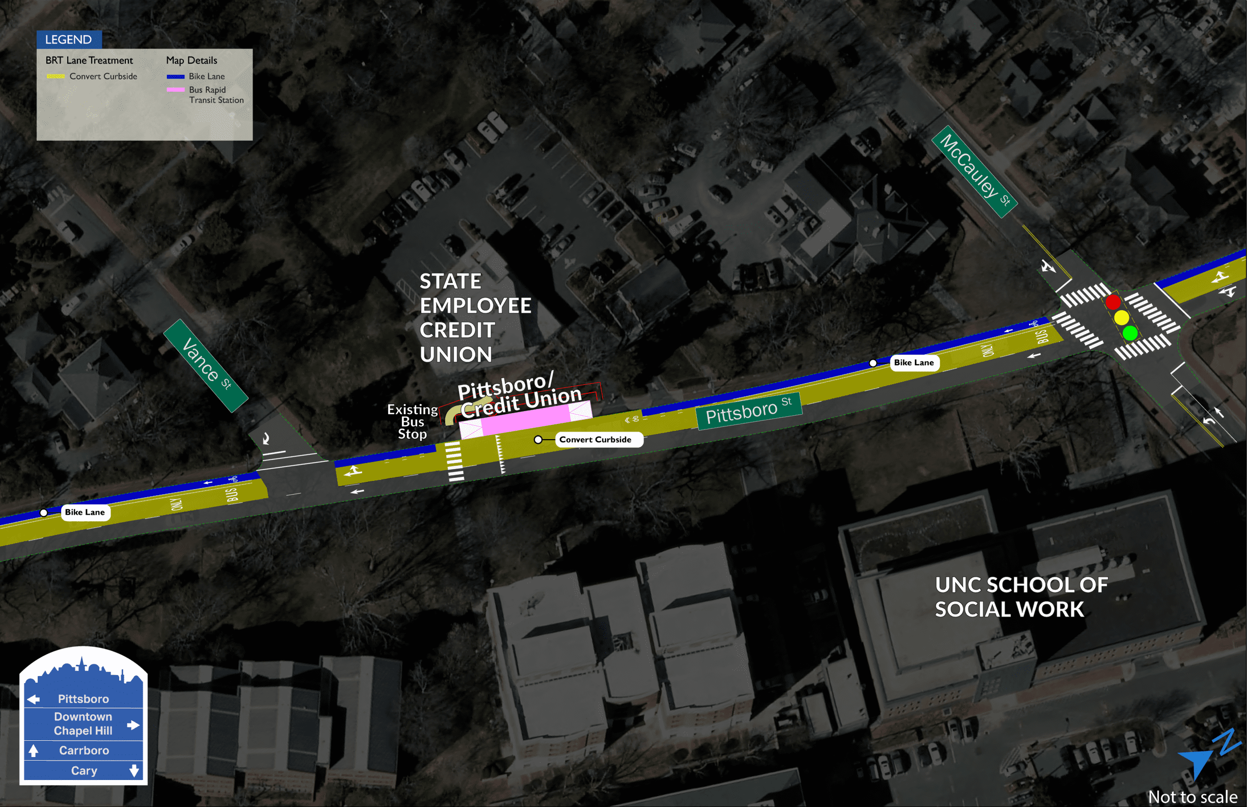 Pittsboro/Credit Union and Carrington BRT map showing one station in front of the State Employee Credit Union building on Pittsboro Street. The building is located between Vance Street and McCauley Street.