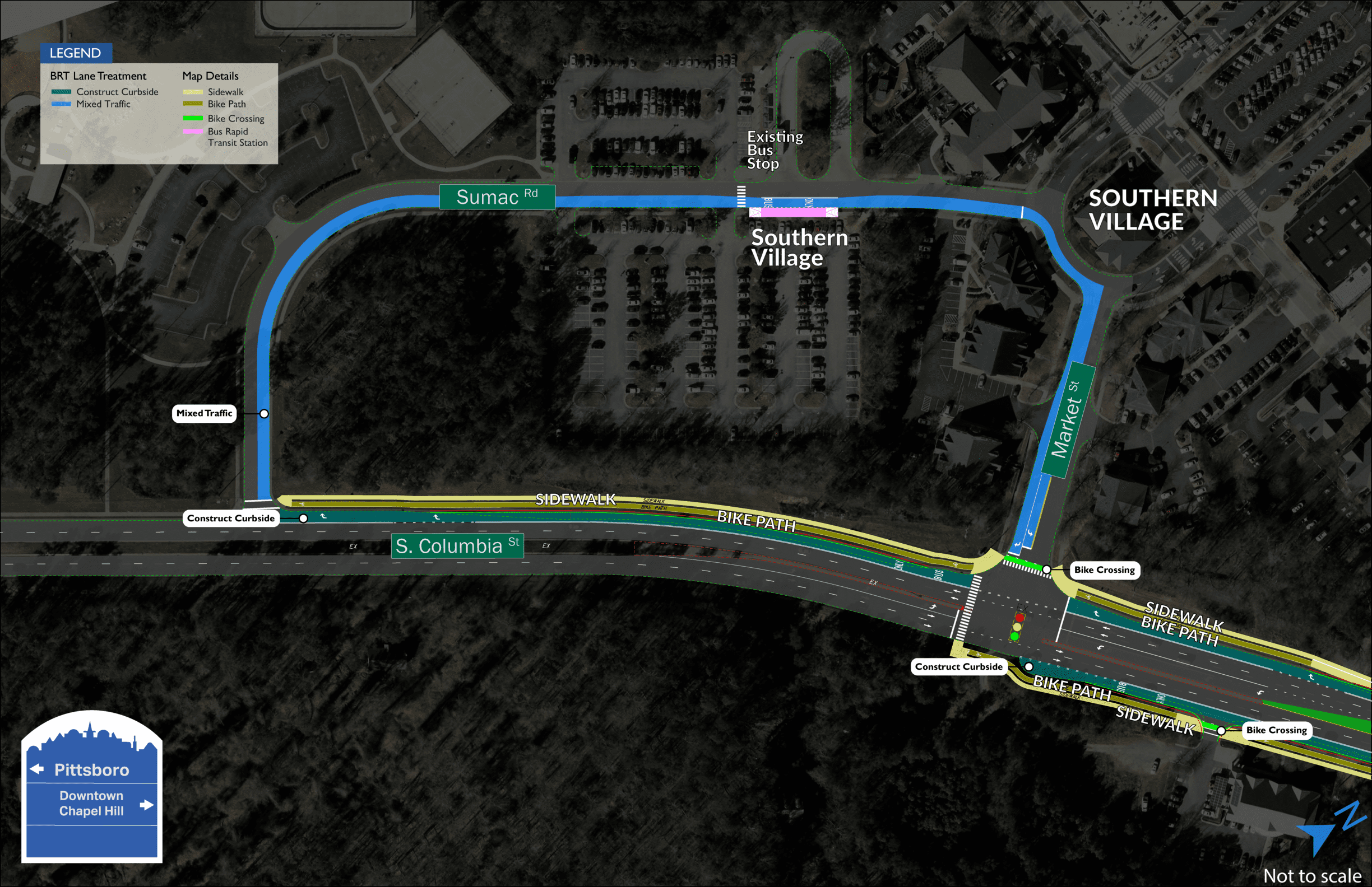 Southern Village BRT station map showing one station located on Sumac Road next to Southern Village.