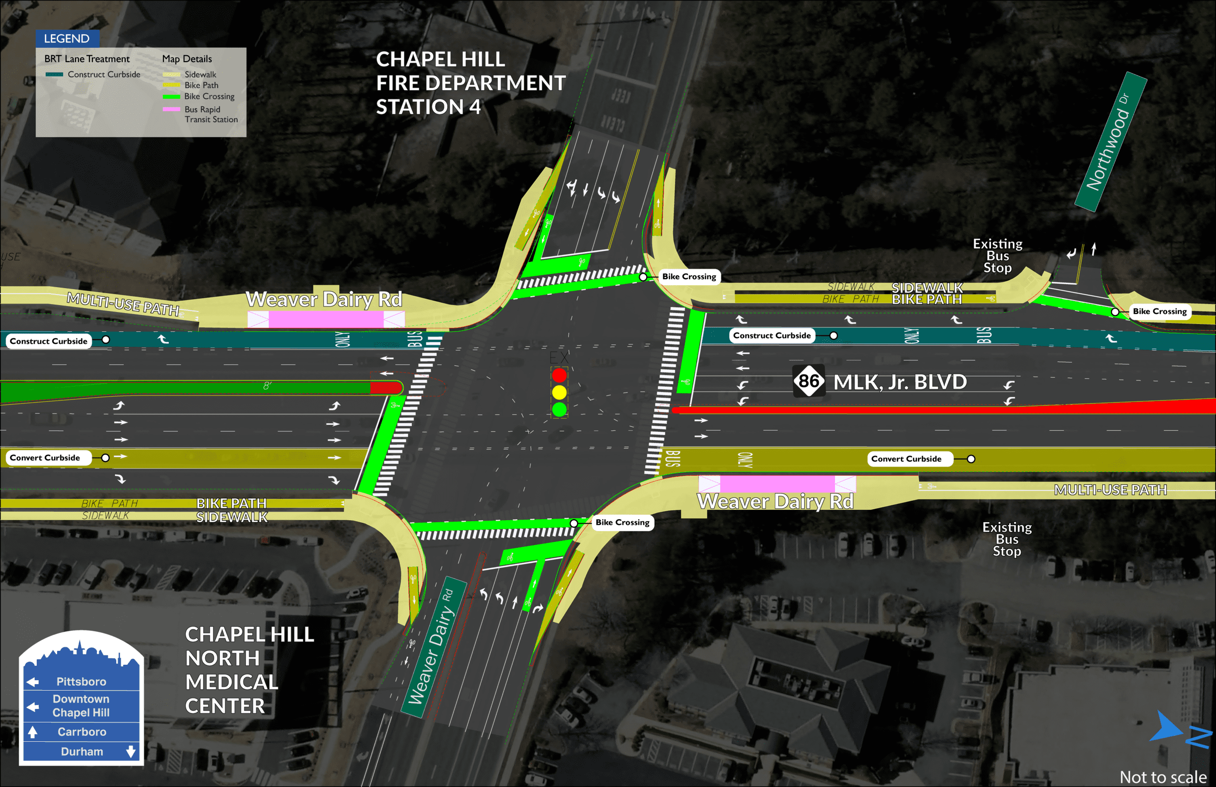 Weaver Dairy BRT map showing two stations on both sides of MLK Jr. Boulevard, divided by Weaver Dairy Road. PPT Slides: Presentation slides on transit supported development shown at the public meetings held in July 2019.