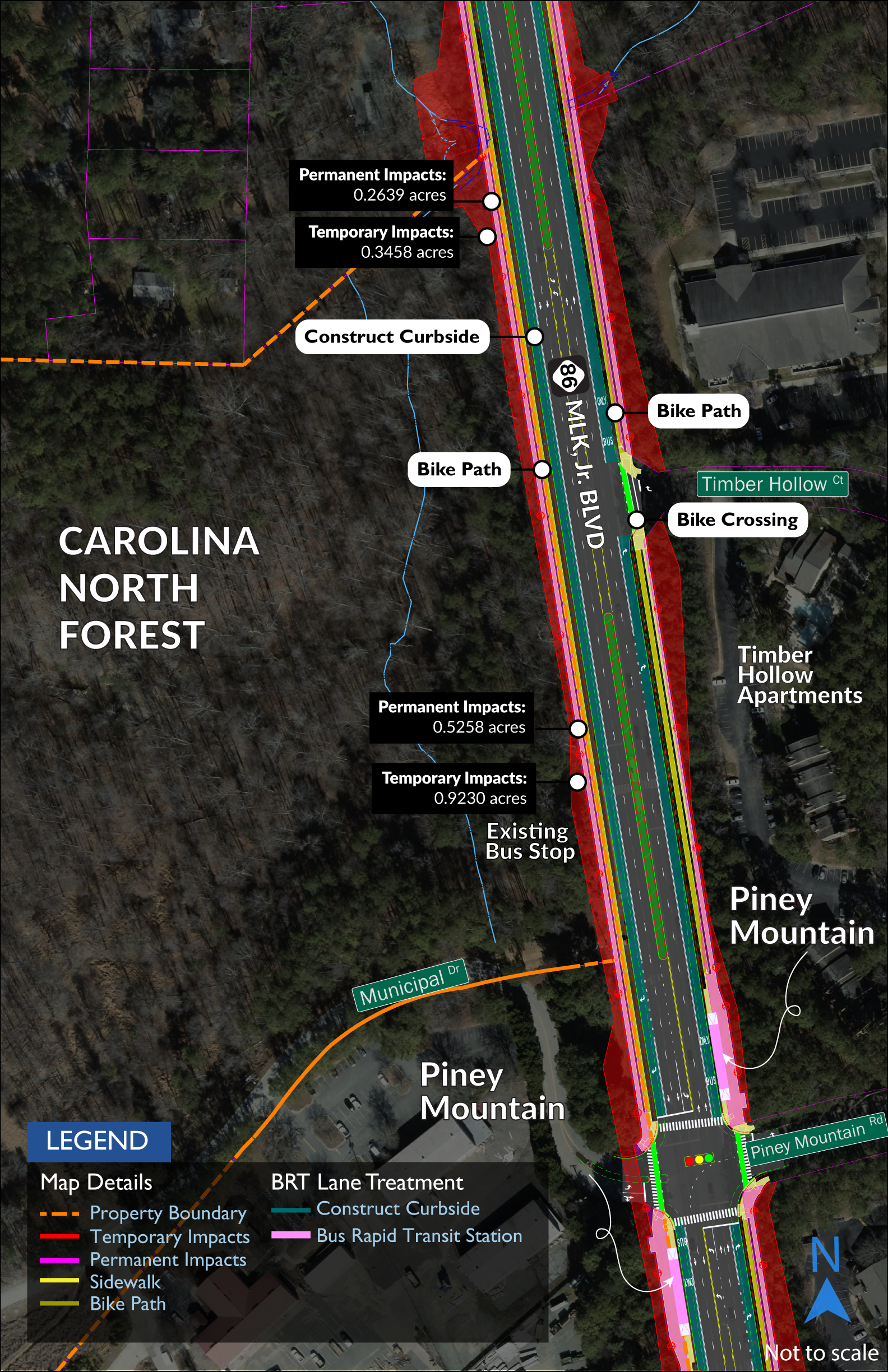 Map showing impacts to Carolina North Forest. A sidewalk and separated bike path will be added on each side of MLK.