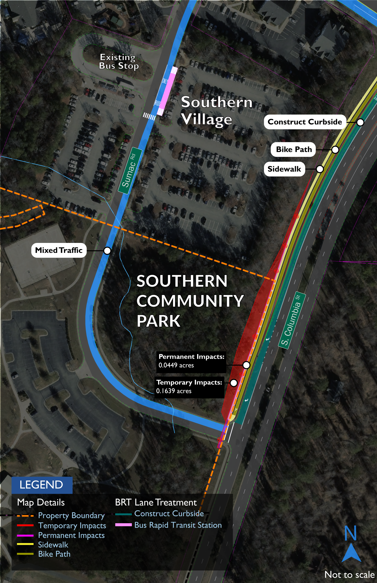Map showing impacts to Southern Community Park. A minor partial acquisition of 0.04 acres would be required in the northeastern corner of the park, along South Columbia Street just north of Sumac Road, to accommodate construction of the BRT guideway and new bicycle and pedestrian facilities. A wider strip of about 0.16 acres would be temporarily occupied during construction.