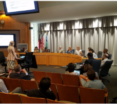 AECOM, the project consultant, presenting project information to the Chapel Hill Town Council in the Council of Chambers.